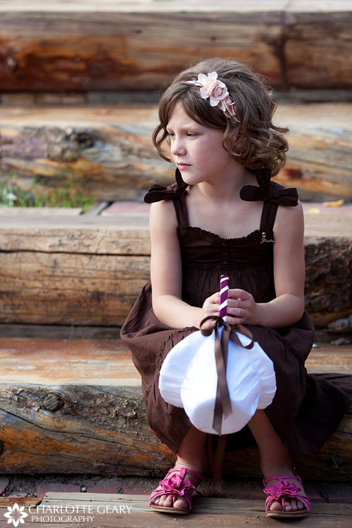 Flower girl in brown dress
