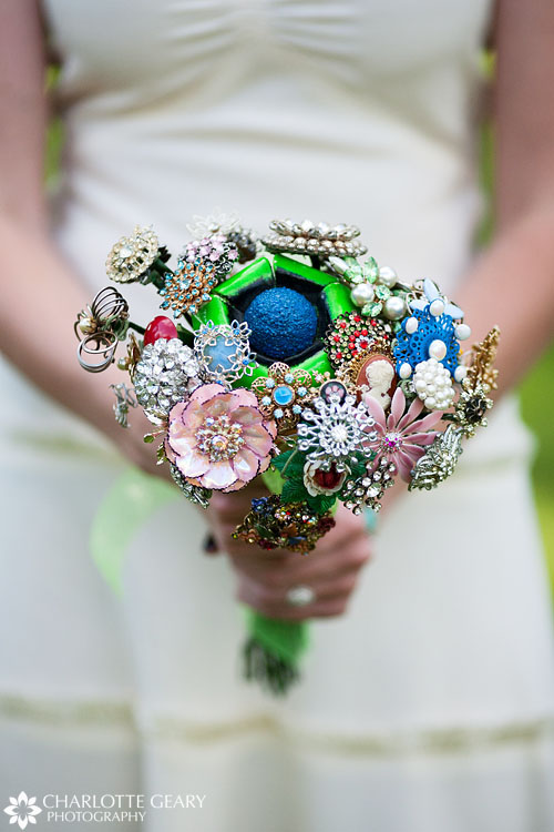 Bridal bouquet made of antique brooches