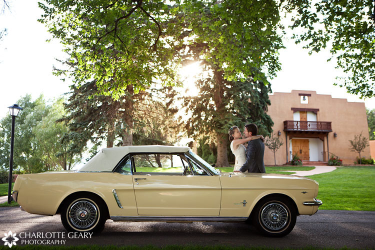 Yellow Mustang wedding car