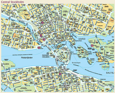 Map of Central Stockholm, Sweden