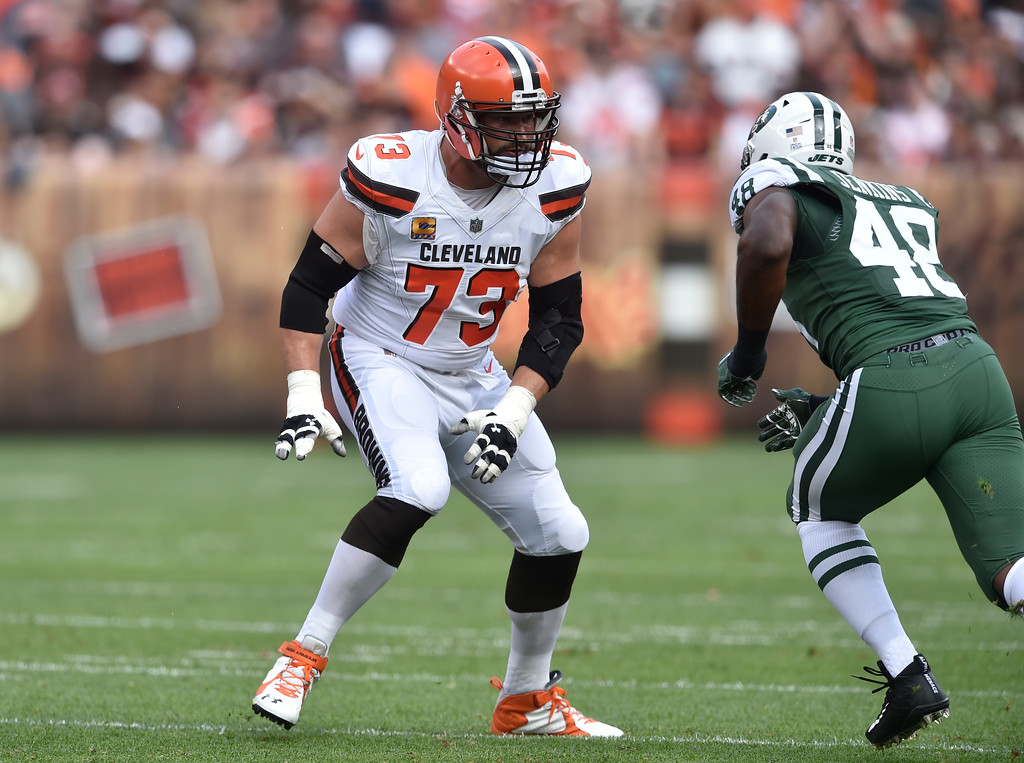 . Cleveland Browns offensive tackle Joe Thomas (73) blocks during an NFL football game against the New York Jets, Sunday, Oct. 8, 2017, in Cleveland. The Jets won 17-14. (AP Photo/David Richard)