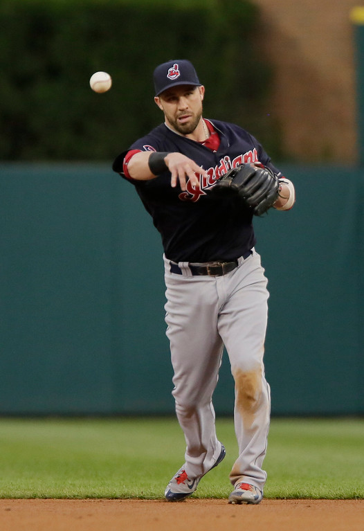. Cleveland Indians second baseman Jason Kipnis throws out Detroit Tigers\' Anthony Gose at first base on a grounder during the third inning of a baseball game Friday, June 12, 2015, in Detroit. (AP Photo/Duane Burleson)