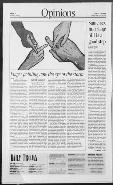 Daily Trojan, Vol. 156, No. 15, September 13, 2005