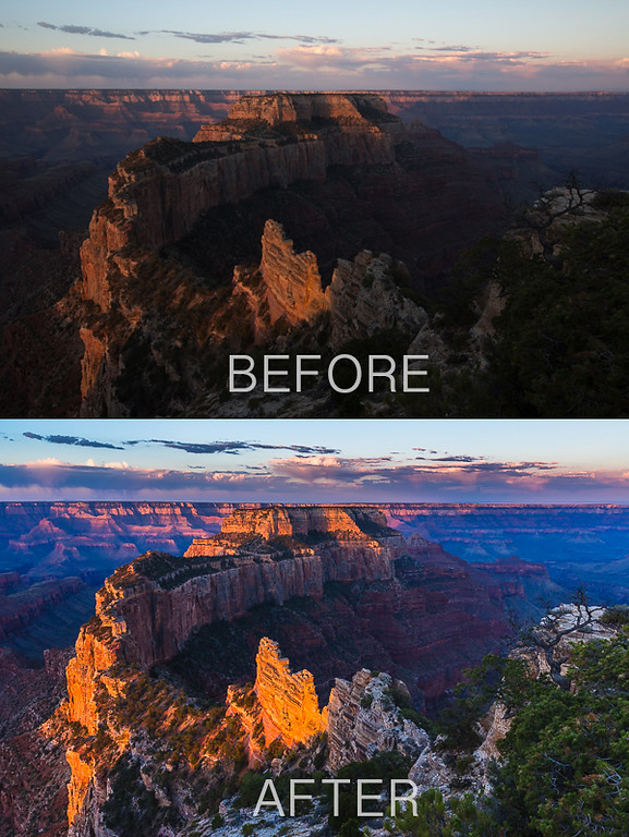 Photo comparison showing before and after post processing