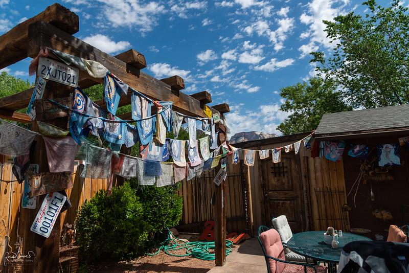 We stopped for coffee at this hip cafe in Springdale, UT, at the entrance to Zion NP. Doing justice to the spiritual energy that abounds here, the backside of the patio was adorned with prayer flags - and an occasional license plate.