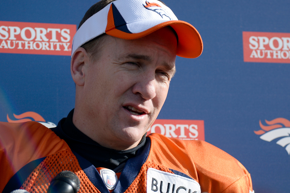 . Denver Broncos quarterback Peyton Manning (18) meets with the media after practice January 8, 2014 at Dove Valley (Photo by John Leyba/The Denver Post)