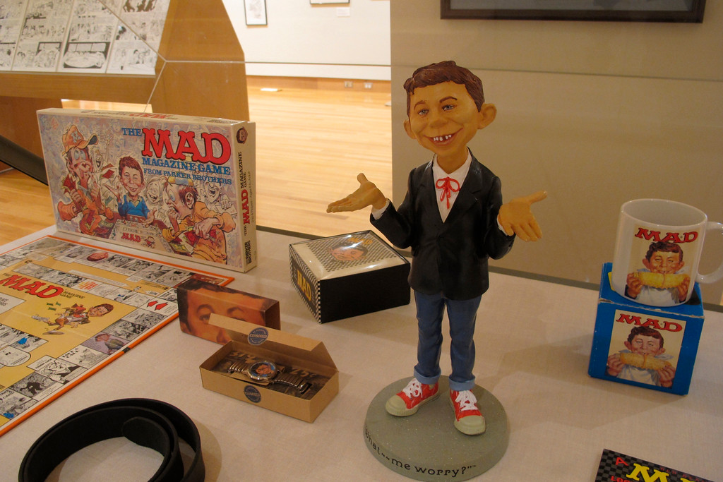 . �Artistically Mad: Seven Decades of Satire� is on display at the Billy Ireland Cartoon Library & Museum at Ohio State University in Columbus through Oct. 21. The exhibit will include original drawings and paintings, displays of vintage MAD magazines and memorabilia such as trading cards and board games. For more information, visit cartoons.osu.edu. (AP Photo/Andrew Welsh-Huggins)