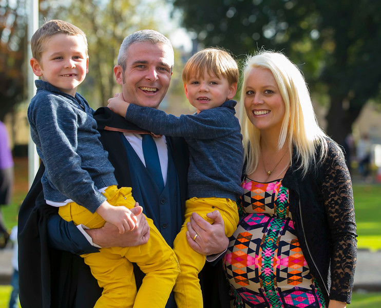 02/11/2016. Waterford Institute of Technology (WIT) Conferring Ceremonies November 2016: Pictured are Marc Daly from Waterford City who Graduated B.A. (Hons) in Applied Social Studies in Social Care, also pictured are his sons Marc and Louis and wife Helen. Picture: Patrick Browne