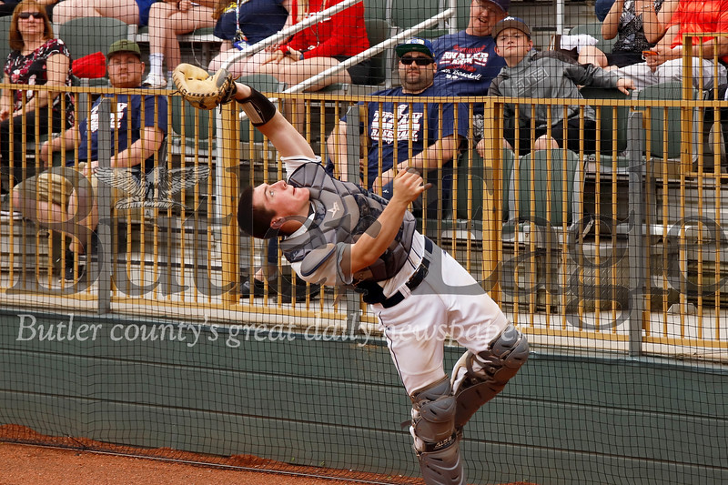 Catcher Teddy Ruffner extends to catch a foul ball. Seb Foltz/Butler Eagle