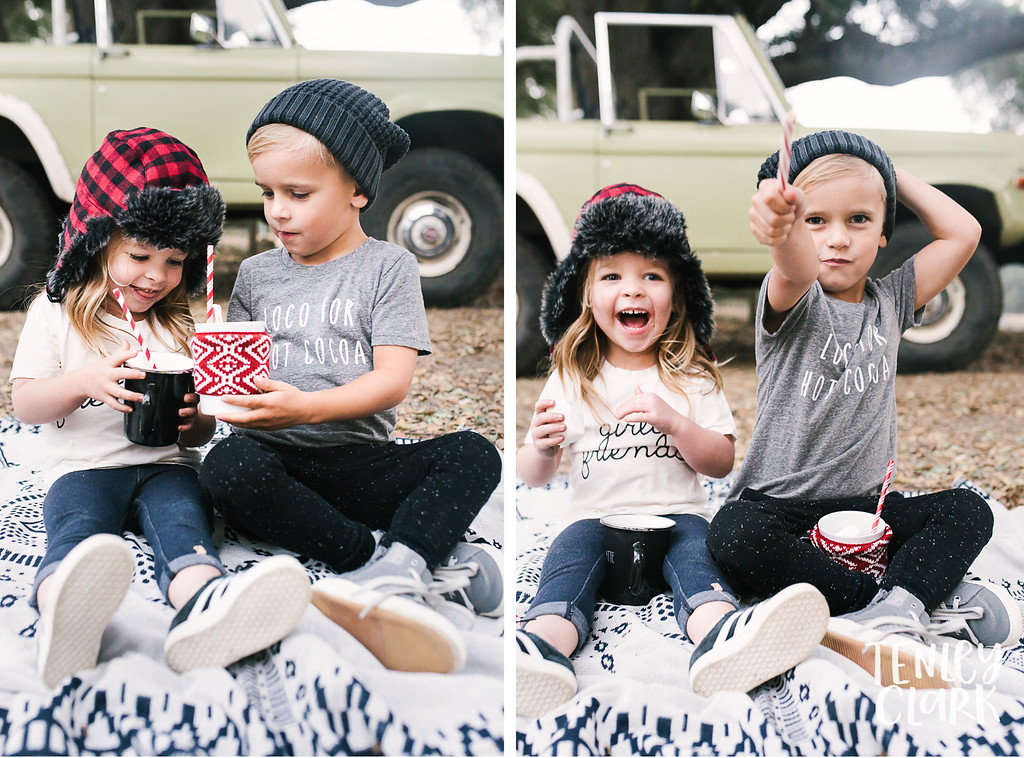 Little girl and boy cheers hot chocolate. Playful kids fashion commercial brand shoot  for B+C California a kids t-shirt company in Bay Area by Tenley Clark Photography.
