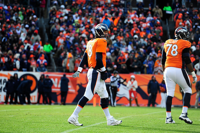 . Denver Broncos quarterback Peyton Manning (18) walks towards the sidelines after throwing an interception in the first quarter. The Denver Broncos vs Baltimore Ravens AFC Divisional playoff game at Sports Authority Field Saturday January 12, 2013. (Photo by AAron  Ontiveroz,/The Denver Post)