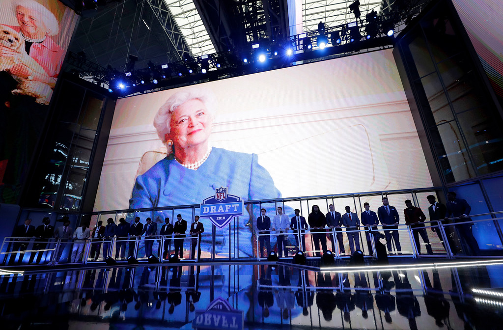 . A moment of silence for former first lady Barbara Bush is observed before the first round of the NFL football draft, Thursday, April 26, 2018, in Arlington, Texas. (AP Photo/David J. Phillip)