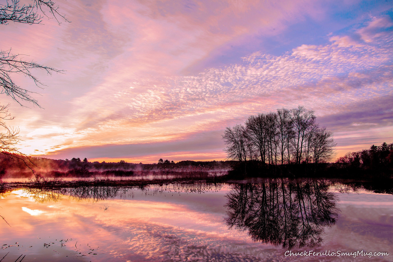 Flooded Charles with Mackerel sky, Dawn, Medfield