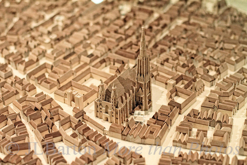 Vienna 1400s 2011-06-26  One of the many models of Vienna in the Museum der Stadt Wien.  This one shows St. Stephan's with the south tower but without the north tower.  Still lots of walls, but the basic design of the inner city (now 1st district) was already there.