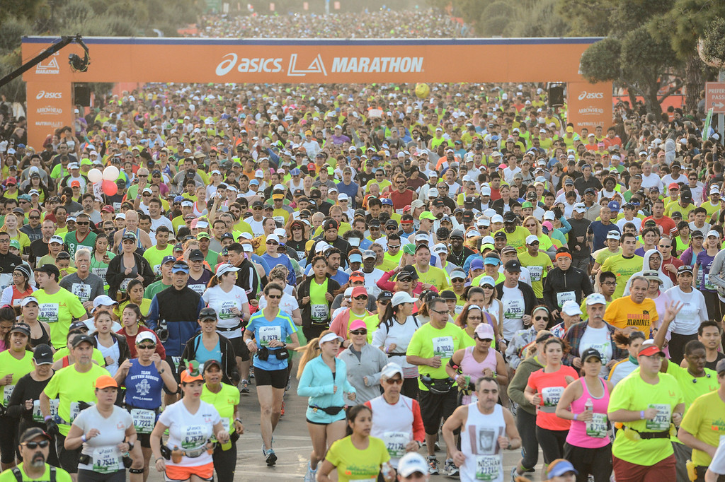 . The start of the LA Marathon Sunday at Dodger Stadium. Photo by David Crane/Staff Photographer