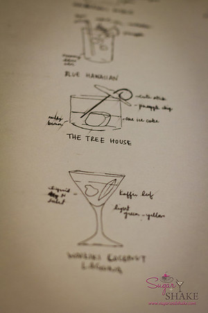Drawings of the cocktails by Kelli Maeshiro. She said she was taking notes for her boss. Wow. © 2012 Sugar + Shake