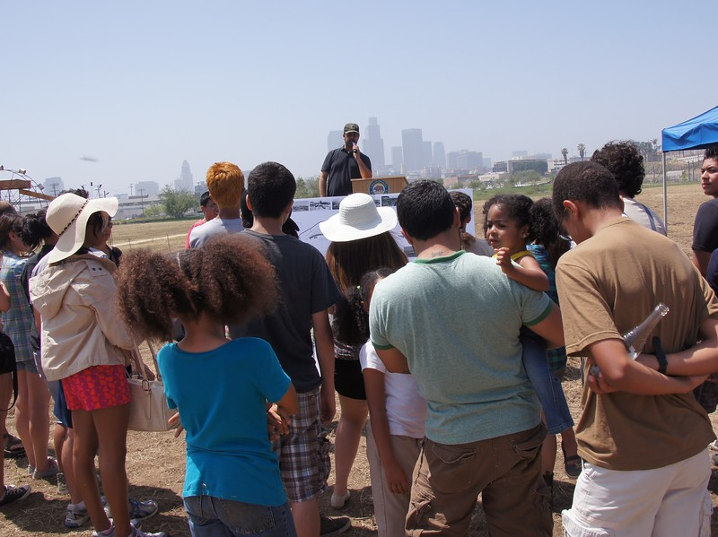 Sean Woods speaks about the history of the Los Angeles State Historic park at Earth Day Latino. April 21st, 2012