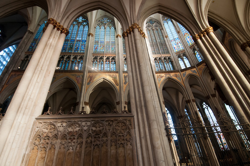 The pillars inside Cologne Cathedral in Germany