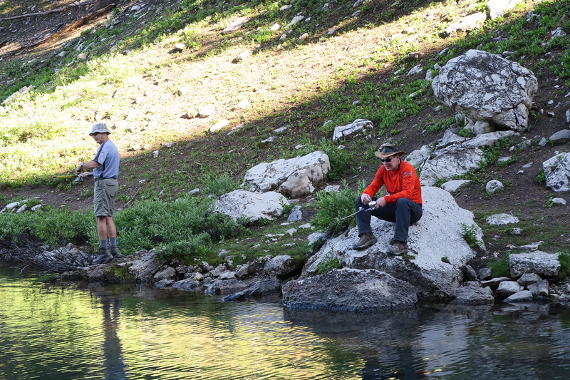 Andy and Jim verify that there are no fish in Marion Lake