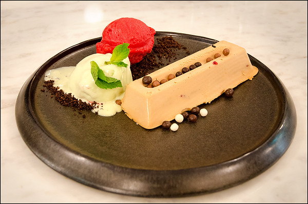 Milk chocolate mousse, caramel crunch, raspberry sorbet and mint ice cream