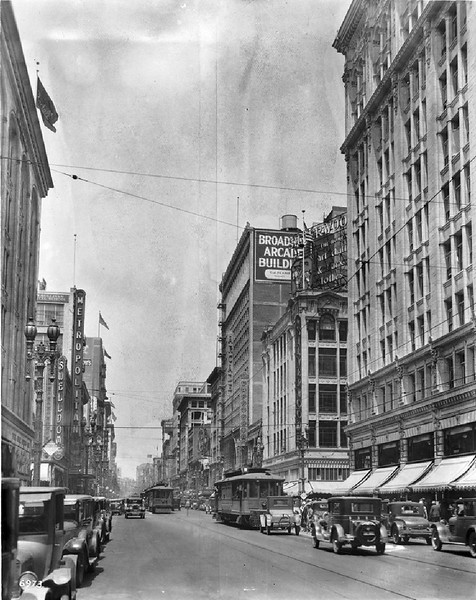 View of Broadway looking north from Sixth Street, Los Angeles, June 1928