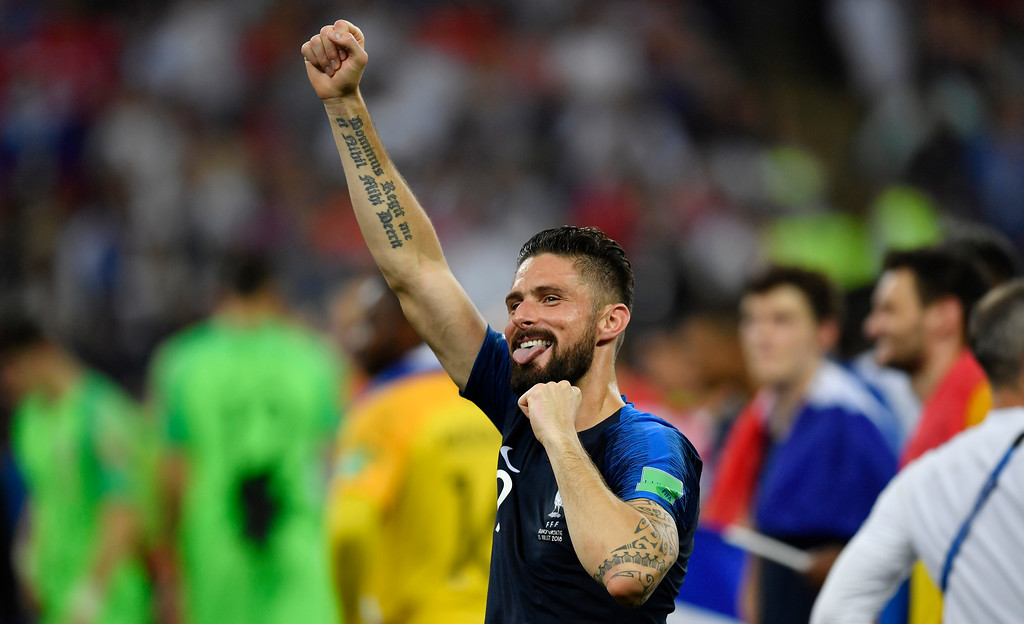 . France\'s Olivier Giroud celebrates after his team won 4-2 during the final match between France and Croatia at the 2018 soccer World Cup in the Luzhniki Stadium in Moscow, Russia, Sunday, July 15, 2018. (AP Photo/Martin Meissner)