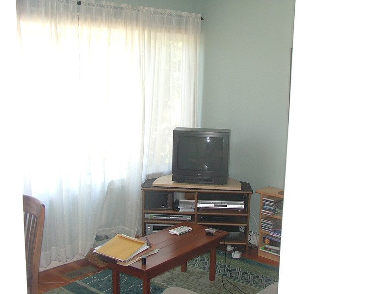 entertainment center in front bedroom