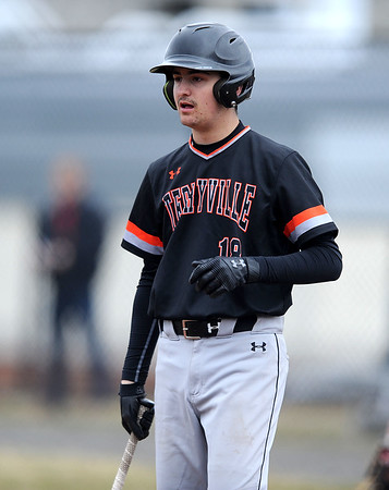 4/11/2019 Mike Orazzi | Staff Terryville'sNick Piper (18) during Thursday's baseball game with Thomason at Terryville High School.