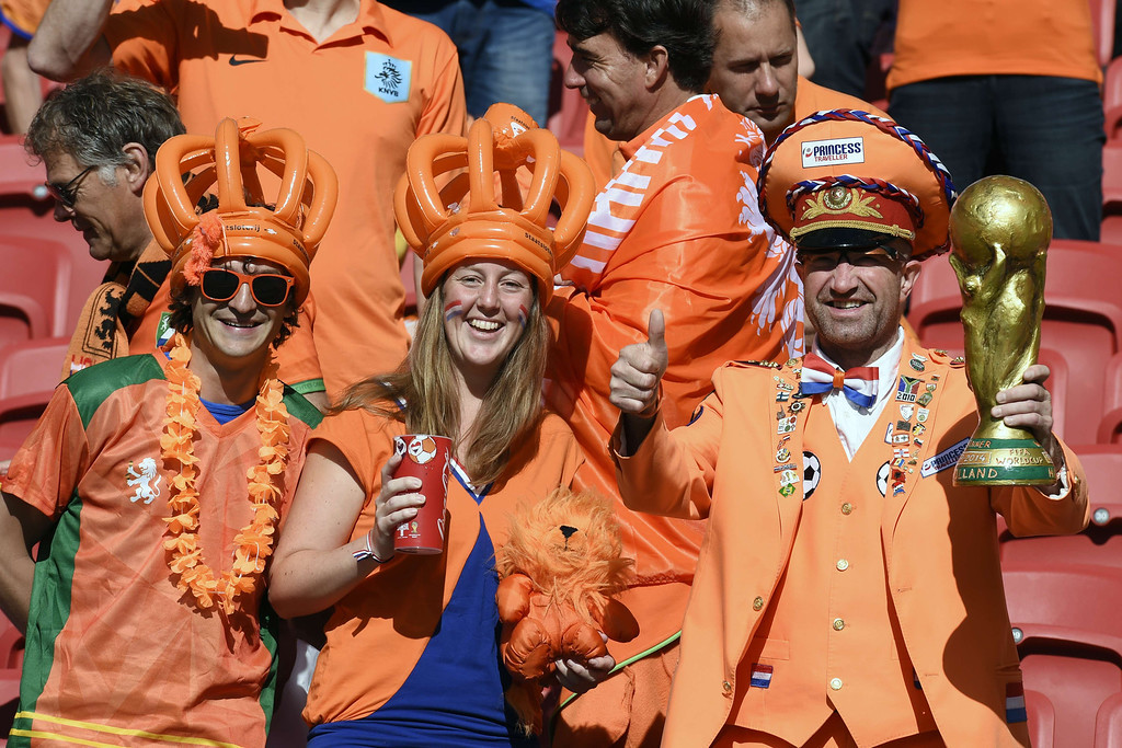 . Netherland\'s supporters cheer prior to a Group B football match between Australia and the Netherlands at the Beira-Rio Stadium in Porto Alegre during the 2014 FIFA World Cup on June 18, 2014. JUAN BARRETO/AFP/Getty Images