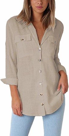 Women's Casual Loose Roll-up Sleeve Blouse
