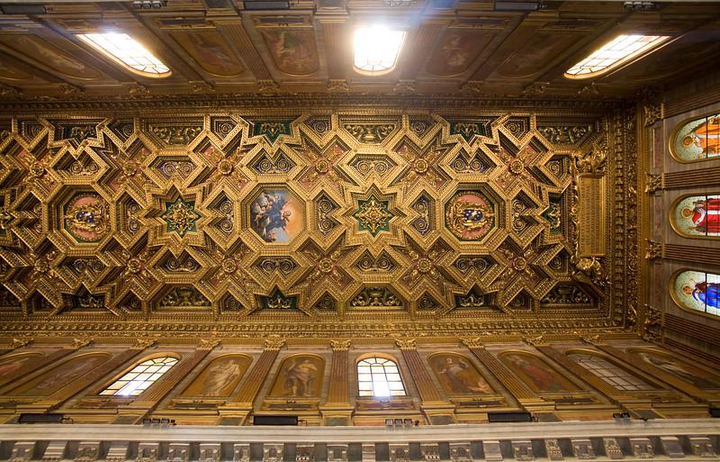 Coffered ceiling of Santa Maria in Trastevere basilica, designed by Domenichino in the 17th century. Rome.