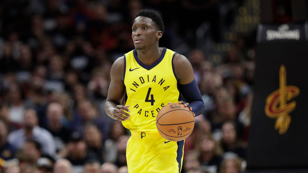 . Indiana Pacers\' Victor Oladipo drives against the Cleveland Cavaliers in the second half of Game 1 of an NBA basketball first-round playoff series, Sunday, April 15, 2018, in Cleveland. (AP Photo/Tony Dejak)