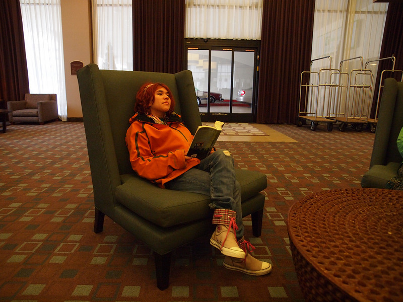 Elia Lounging in the Fresno Holliday Inn.