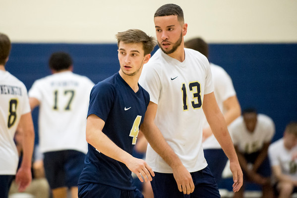 05/13/19 Wesley Bunnell | Staff Newington boys volleyball vs Westfield MA on Monday night at Newington High School. Collin Liedke (4) and Leonel Caceres (13).