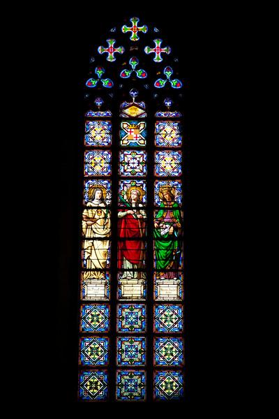 Gothic stained glass window, Santa Maria del Mar church, town of Barcelona, autonomous commnunity of Catalonia, northeastern Spain