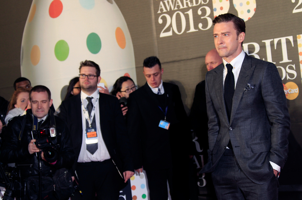 Description of . Justin Timberlake seen arriving at the BRIT Awards 2013 at the o2 Arena in London on Wednesday, Feb. 20, 2013. (Photo by Joel Ryan/Invision/AP)