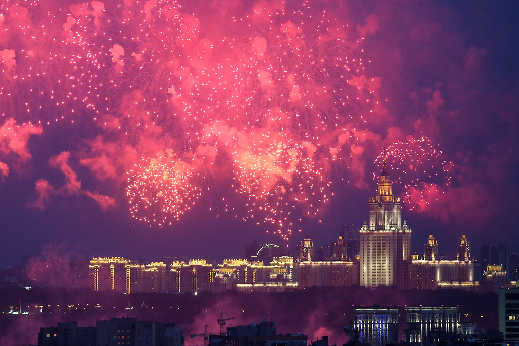 . Fireworks explode over the city as it commemorates Victory Day, the 69th anniversary of the defeat of Nazi Germany, in Moscow Friday, May 9, 2014. (AP Photo/Denis Tyrin)