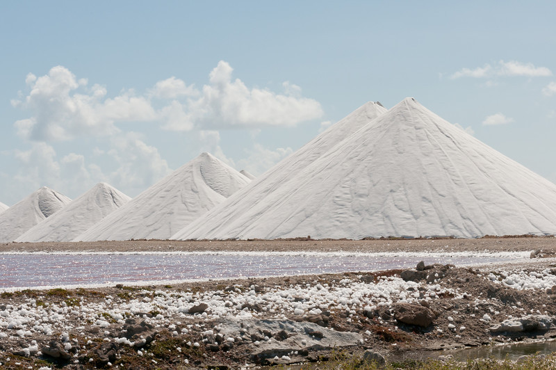 Salt piles on the island of Bonaire