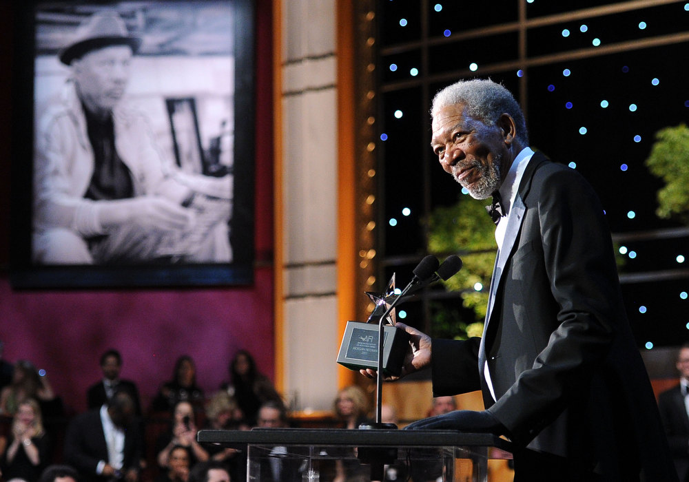 . 39th Life Achievement Award recipient Morgan Freeman speaks onstage at the 39th AFI Life Achievement Award honoring Morgan Freeman held at Sony Pictures Studios on June 9, 2011 in Culver City, California. Morgan Freeman ranked as Google\'s eighth most searched trending person of 2012.  (Photo by Frazer Harrison/Getty Images for AFI)