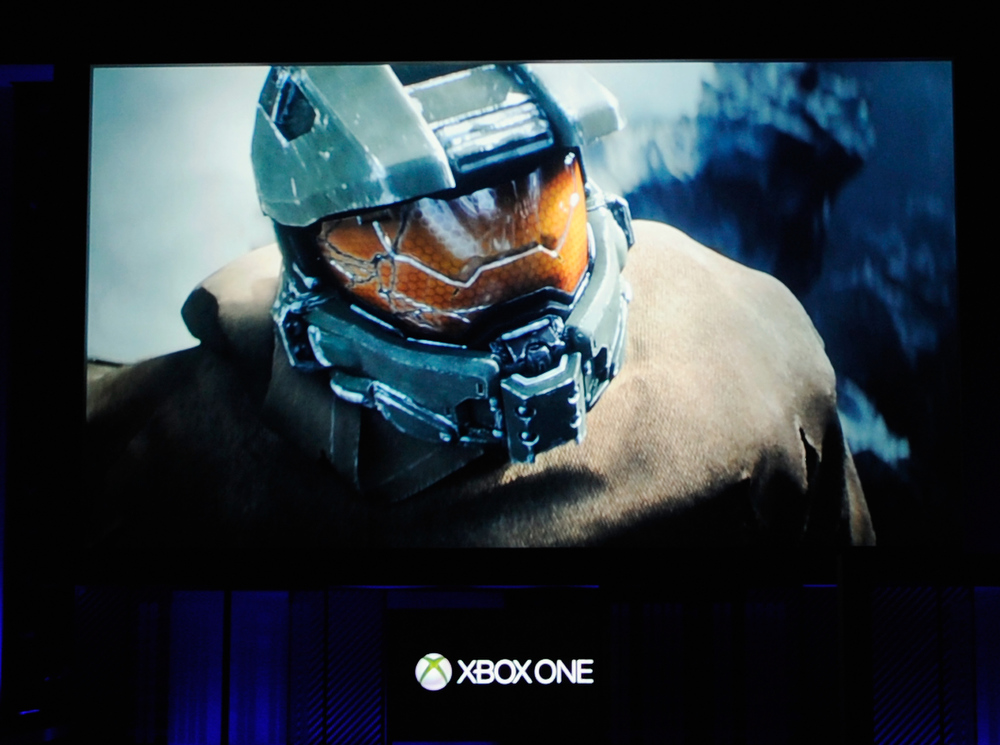 . Halo video game during Microsoft Xbox news conference at the Electronic Entertainment Expo at the Galen Center on June 10, 2013 in Los Angeles, California. Thousands are expected to attend the annual three-day convention to see the latest games and announcements from the gaming industry.  (Photo by Kevork Djansezian/Getty Images)