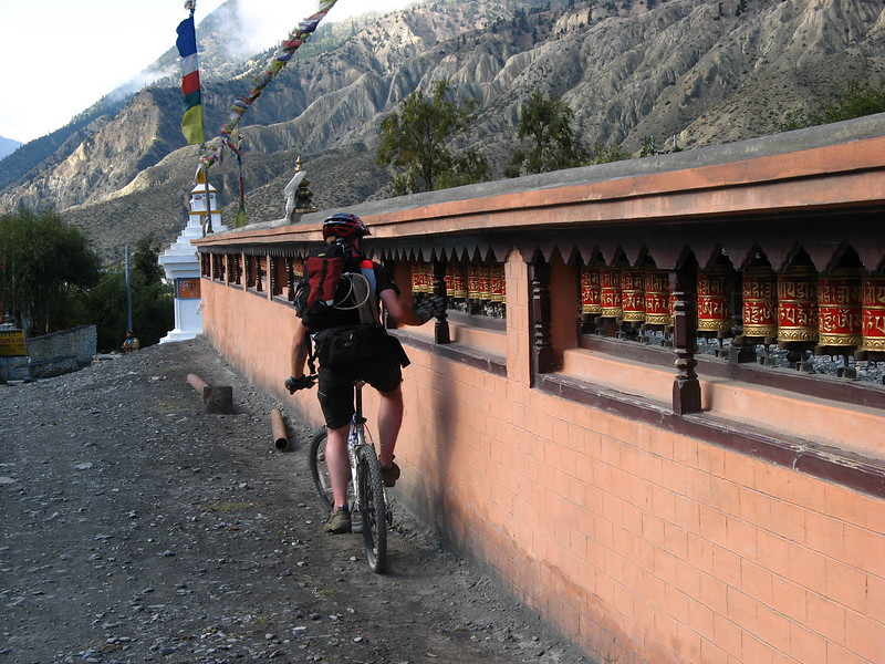 Mads spinning some prayer wheels for good luck.