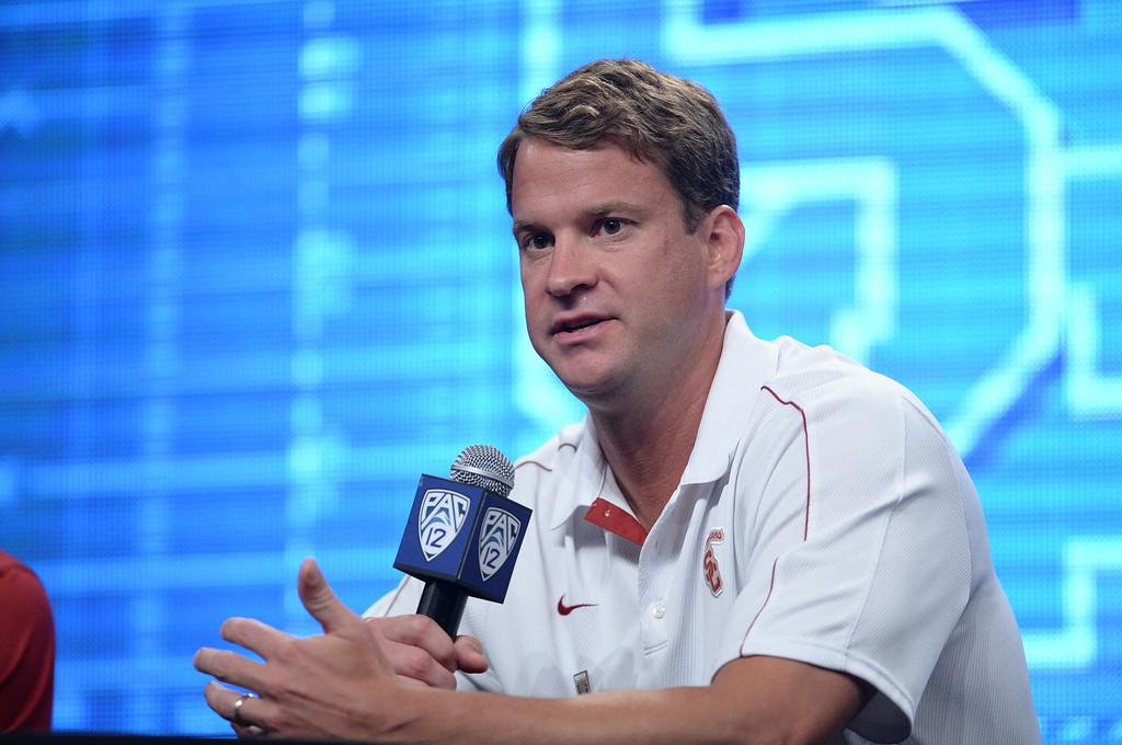 . USC Coach Lane Kiffin. Pac12 media Day at Sony Studios.  Photo by Brad Graverson 7-26-13