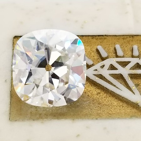 """Loose 9.5 x 9mm """"True Antique"""" Style Old Mine Cushion Cut Moissanite"""