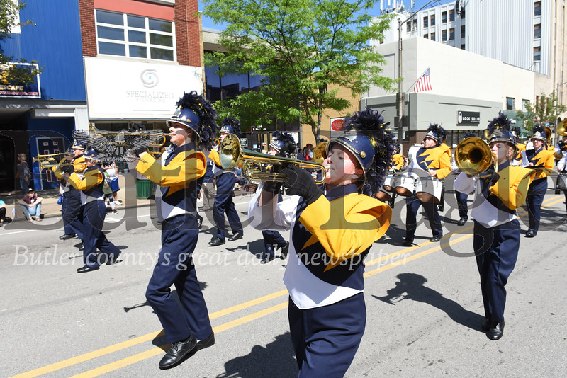 Harold Aughton/Butler Eagle: Members of the Butler High School Marching Band performed during the Butler Memorial Day Parade, Monday, May 27.