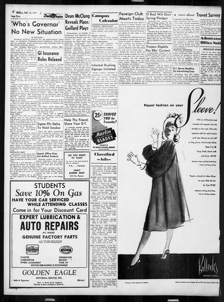 Daily Trojan, Vol. 38, No. 75, February 14, 1947