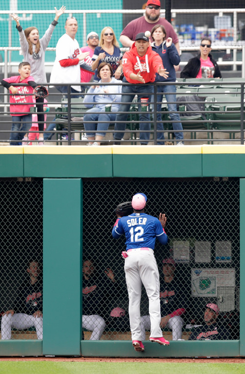 . Kansas City Royals\' Jorge Soler watches the ball after Cleveland Indians\' Yan Gomes hit a three run home run in the fourth inning of a baseball game, Sunday, May 13, 2018, in Cleveland. (AP Photo/Tony Dejak)
