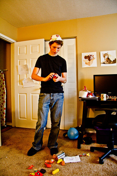 Joshua in Chloe's room, with a salad bowl on his head.