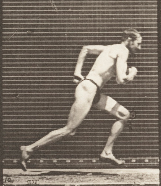 Man in pelvis cloth is starting for a run