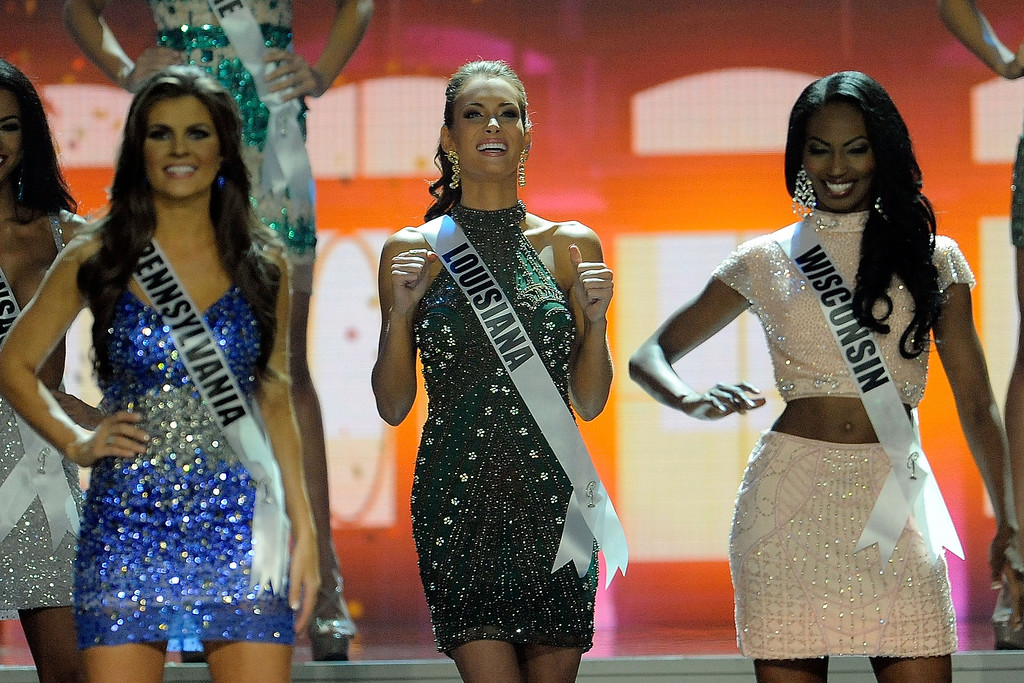 . Miss Louisiana USA Brittany Alyson Guidry reacts after advancing in the 2014 Miss USA Competition at The Baton Rouge River Center on June 8, 2014 in Baton Rouge, Louisiana.  (Photo by Stacy Revere/Getty Images)
