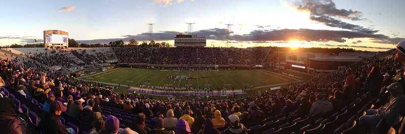 10/29/2011 ECU vs. Tulane (Homecoming) - sun setting on the stadium.